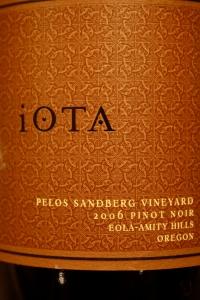 Iota 2006 Pelos Sandberg Vineyard Pinot Noir