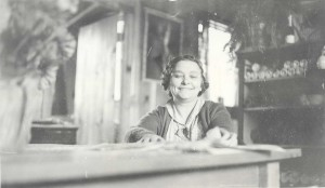 Isabel in the redwood cask tasting room. Courtesy of Healdsburg Museum and Research Center via Healdsburg Patch.