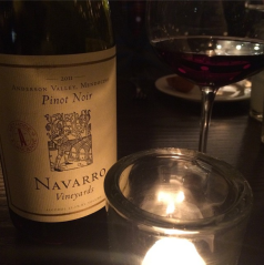 A treat to unexpectedly find an old favorite, Navarro Pinot Noir, on the Burch Steakhouse wine list