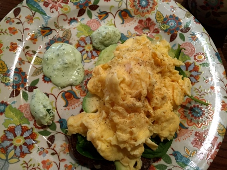 Dr. Pot's Green Eggs at The Bell and Pot. Scrambled eggs, spinach and avocado on Irish brown bread.