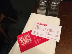 The Bunsen menu. Simple. When you're that good, there's no need for fancy.