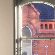 View from the window at Kaph in the bright upstairs seating area.