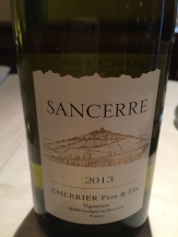 Lovely Sancerre paired with the Peploe's organic chicken.