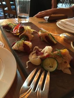 Yellowfin hamachi crudo platter at The Lark