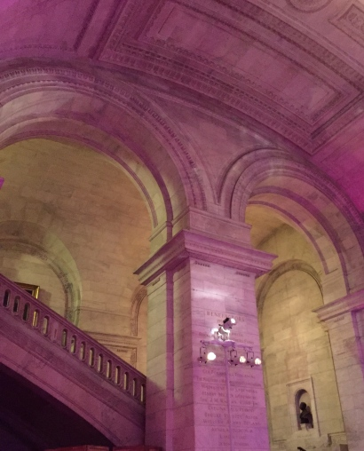 New York Public Library by night, lit for a private event. ©2015 Lucy Mathews Heegaard
